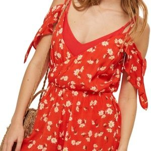 TOPSHOP – Daisy Floral Print Jumpsuit RED MULTI /M